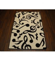 Modern Approx 5x3ft Music Note Mats Great Quality Non Slip White/Black 100x150cm
